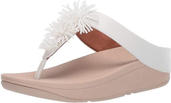 Women's FitFlop Fino Bead Pom-Pom White Toe-Post Sandals