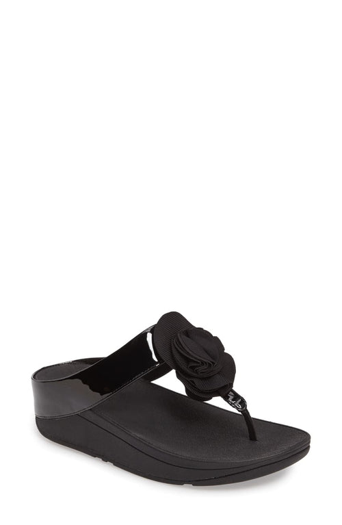 Women's FitFlop Florrie Black Toe-Post Sandal
