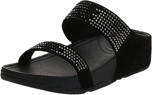 Women's FitFlop Flare Black Slide Sandals