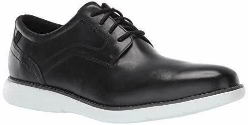 Men's Rockport Garett Plain Toe Black/White Leather Oxford