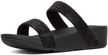 Women's FitFlop Lottie Black Shimmer Crystal Slide Sandal