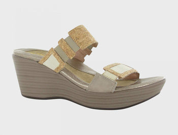 Women's Naot Treaure Gold Threads/Cork Leather Sandals