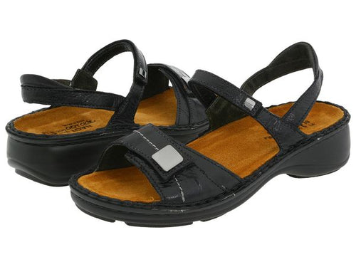 Women's Naot Papaya Black Gloss Backstrap Sandal