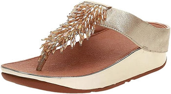 Women's FitFlop Rumba Metallic Gold Toe-Post Sandal