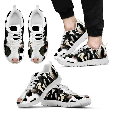 Cow Print Running Shoe For Men- Free Shipping-Paww-Printz-Merchandise