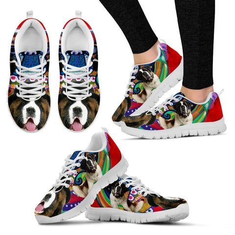 Saint Bernard Dog Print Running Shoe For Women- Free Shipping-Paww-Printz-Merchandise
