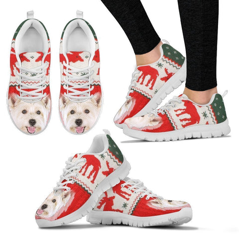 West Highland White Terrier Ugly Christmas Running Shoes For Women- Free Shipping-Paww-Printz-Merchandise