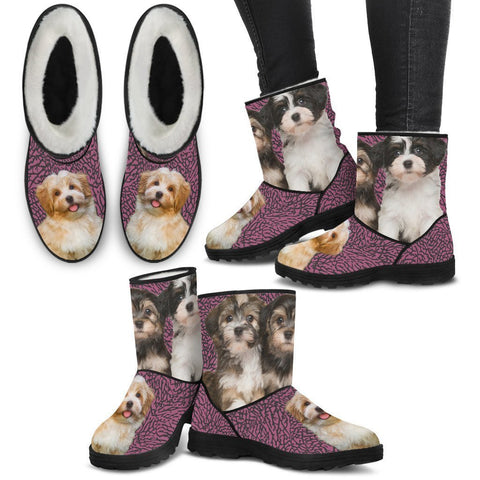 Cute Havanese Print Faux Fur Boots For Women-Free Shipping-Paww-Printz-Merchandise