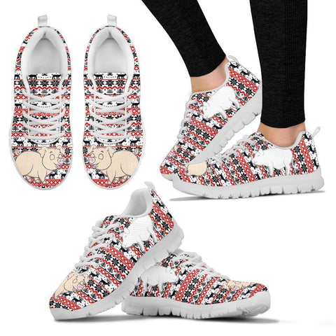 Vietnamese Pot Bellied Pig Print Christmas Running Shoes For Women- Free Shipping-Paww-Printz-Merchandise