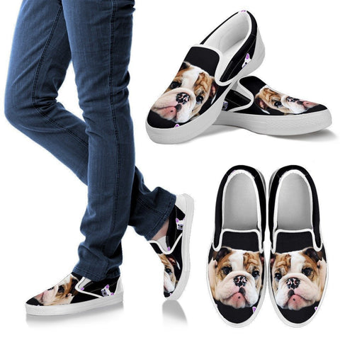 Bull Dog Print Slip Ons For Women- Express Shipping-Paww-Printz-Merchandise