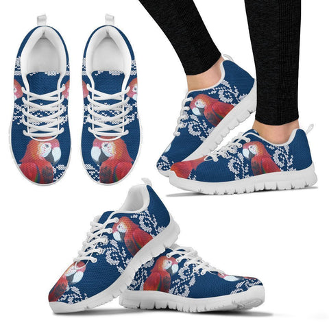 Scarlet Macaw Parrot Print Christmas Running Shoes For Women-Free Shipping-Paww-Printz-Merchandise