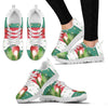 Red Headed Amazon Parrot Print Christmas Running Shoes For Women-Free Shipping-Paww-Printz-Merchandise