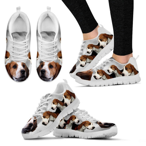Treeing Walker Coonhound Print Sneakers For Women(White/Black)- Express Shipping-Paww-Printz-Merchandise