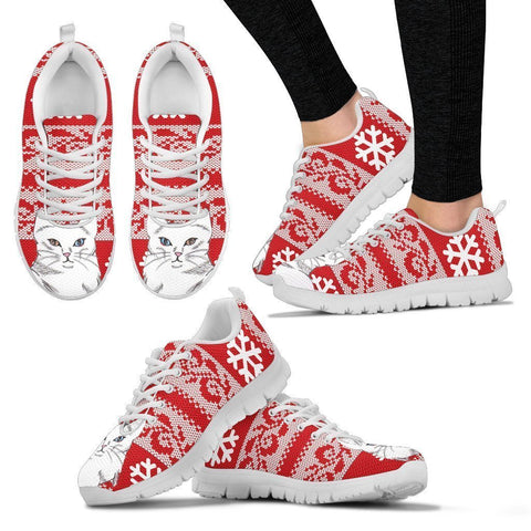 Turkish Angora Cat Print Christmas Running Shoes For Women-Free Shipping-Paww-Printz-Merchandise