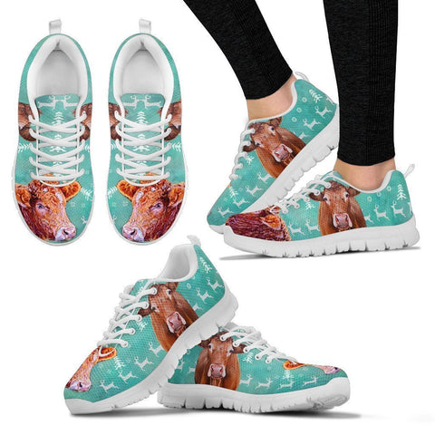 Limousin Cattle Cow Christmas Running Shoes For Women- Free Shipping-Paww-Printz-Merchandise