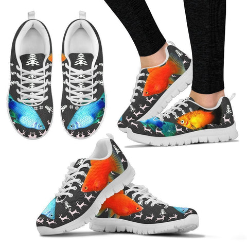 Platy Fish Print Christmas Running Shoes For Women- Free Shipping-Paww-Printz-Merchandise