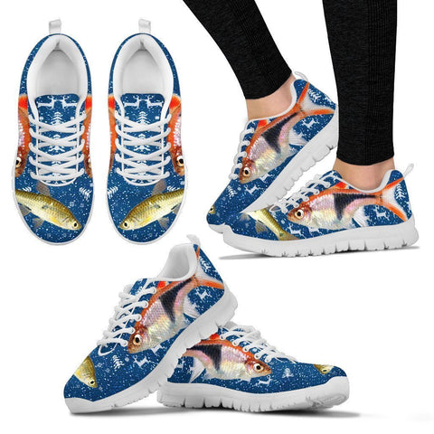Seluang Fish (Rasbora) Print Christmas Running Shoes For Women- Free Shipping-Paww-Printz-Merchandise