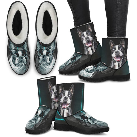 Boston Terrier Print Faux Fur Boots For Women-Free Shipping-Paww-Printz-Merchandise