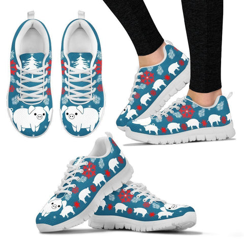 Large White pig Print Christmas Running Shoes For Women-Free Shipping-Paww-Printz-Merchandise