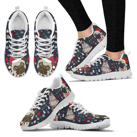 Pug Dog Christmas Print Running Shoes For Women-Free Shipping-Paww-Printz-Merchandise