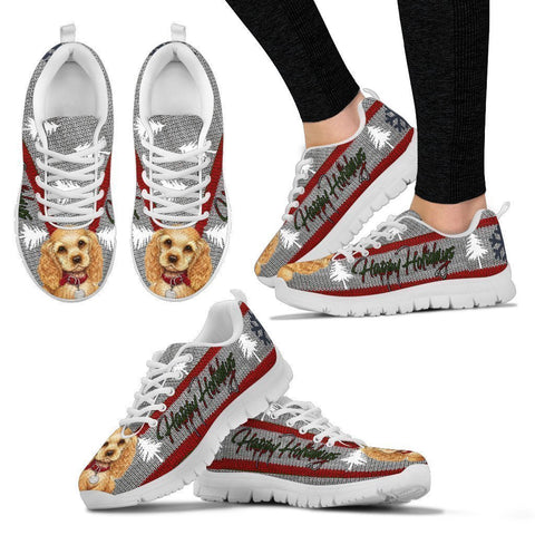 Cocker Spaniel Christmas Print Running Shoes For Women-Free Shipping-Paww-Printz-Merchandise