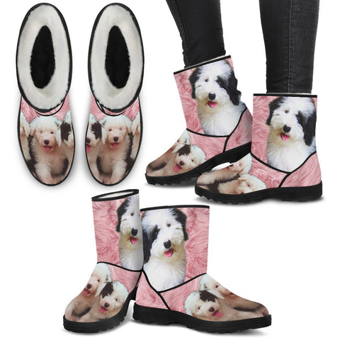Cute Old English Sheepdog Print Faux Fur Boots For Women- Free Shipping-Paww-Printz-Merchandise
