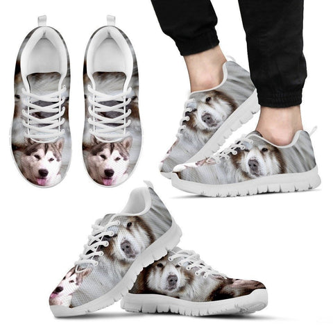 Canadian Eskimo Print Running Shoes For Men (White/Black)- Express Shipping-Paww-Printz-Merchandise
