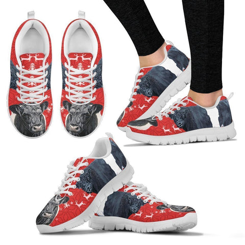 Belted Galloway Cattle Cow Christmas Running Shoes For Women- Free Shipping-Paww-Printz-Merchandise
