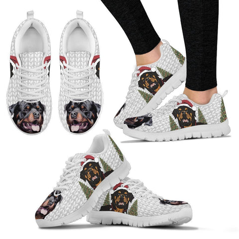Rottweiler Print Christmas Running Shoes For Women-Free Shipping-Paww-Printz-Merchandise