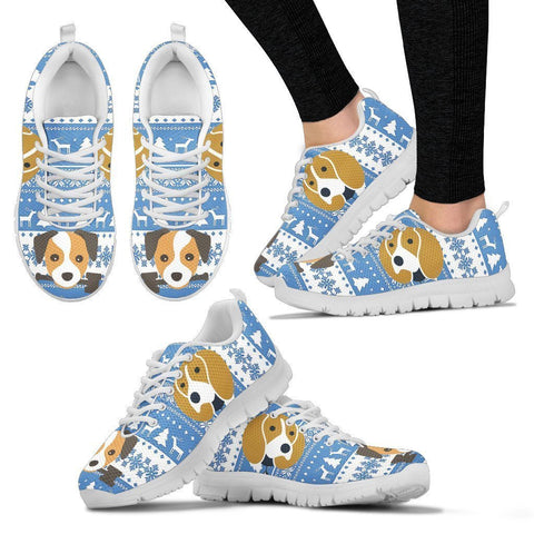 New Beagle Print Christmas Running Shoes For Women- Free Shipping-Paww-Printz-Merchandise