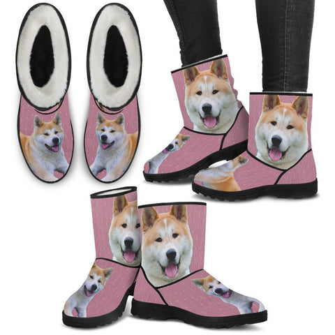 Cute Akita Print Faux Fur Boots For Women-Free Shipping-Paww-Printz-Merchandise