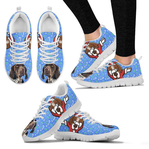 German Shorthaired Pointer Dog Print Christmas Running Shoes For Women- Free Shipping-Paww-Printz-Merchandise
