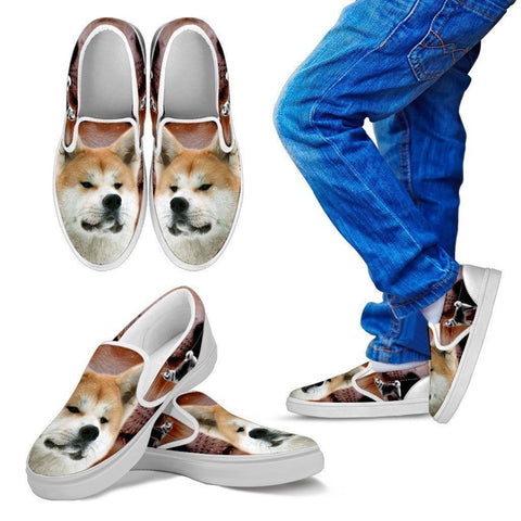 Akita Dog Print Slip Ons For Kids- Express Shipping-Paww-Printz-Merchandise