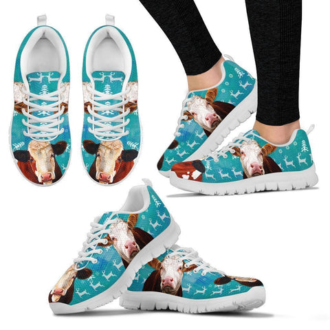 Simmental (Swiss Fleckvieh) Cattle Cow Christmas Running Shoes For Women- Free Shipping-Paww-Printz-Merchandise