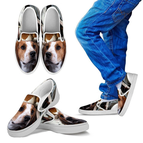 Treeing Walker Coonhound Print Slip Ons For Kids- Express Shipping-Paww-Printz-Merchandise