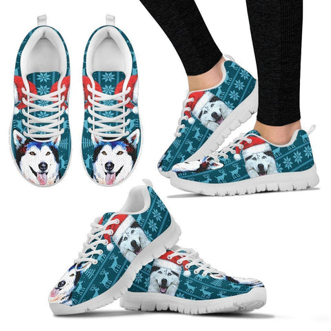 Siberian Husky Print Christmas Running Shoes For Women-Free Shipping-Paww-Printz-Merchandise