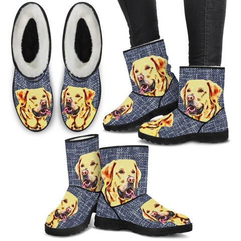 Labrador Retriever Print Faux Fur Boots For Women-Free Shipping-Paww-Printz-Merchandise