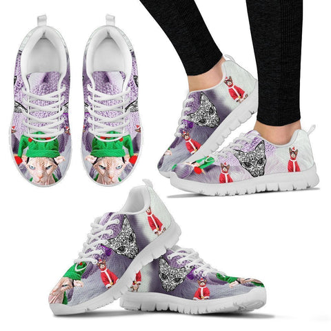 Sphynx Cat Christmas Running Shoes For Women- Free Shipping-Paww-Printz-Merchandise