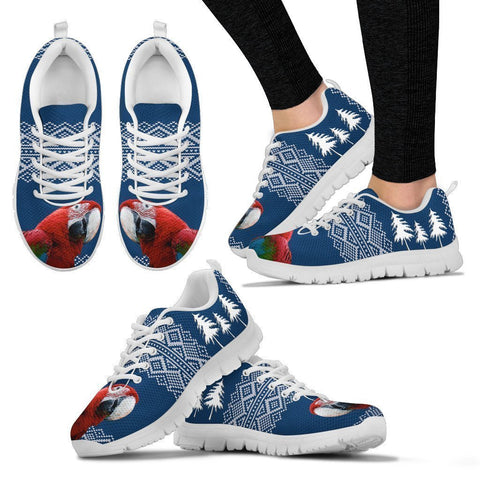 Red and Green Macaw Print Christmas Running Shoes For Women-Free Shipping-Paww-Printz-Merchandise
