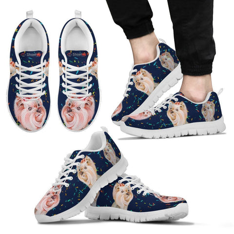 Cute Yorkshire Terrier blue Print Running Shoes For Men-Free Shipping-Paww-Printz-Merchandise