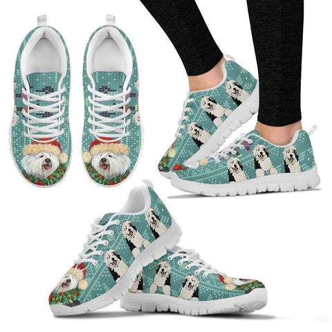 Old English Sheepdog Christmas Running Shoes For Women-Free Shipping-Paww-Printz-Merchandise