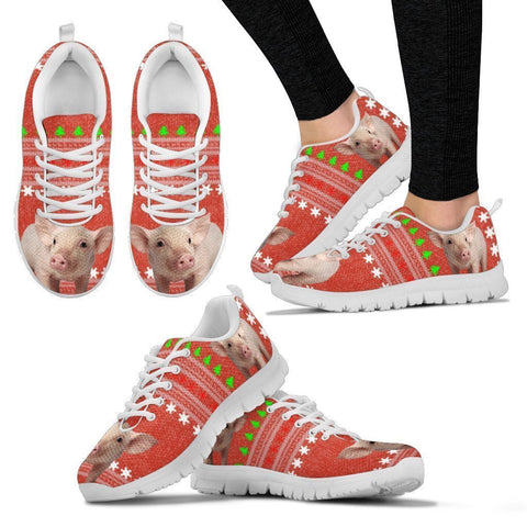 Red Wattle Pig Print Christmas Running Shoes For Women-Free Shipping-Paww-Printz-Merchandise