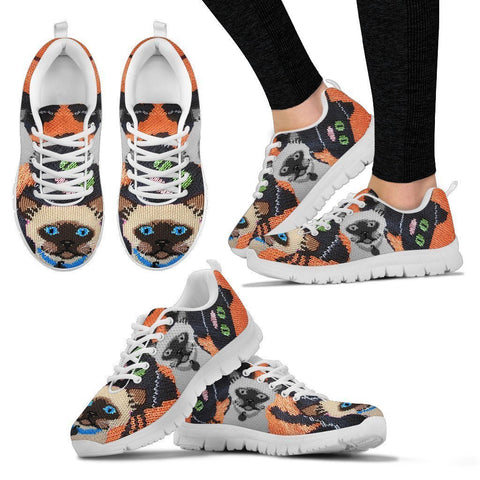 Siamese Cat Christmas Running Shoes For Women- Free Shipping-Paww-Printz-Merchandise
