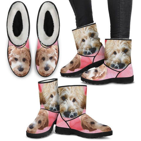 Goldendoodle Print Faux Fur Boots For Women- Free Shipping-Paww-Printz-Merchandise