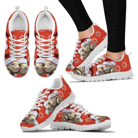 Miniature Pig Print Christmas Running Shoes For Women-Free Shipping-Paww-Printz-Merchandise