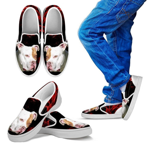 Pit Bull Terrier Print Slip Ons For Kids- Express Shipping-Paww-Printz-Merchandise
