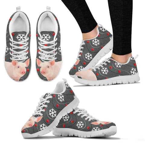 Miniature Pig2 Print Christmas Running Shoes For Women-Free Shipping-Paww-Printz-Merchandise