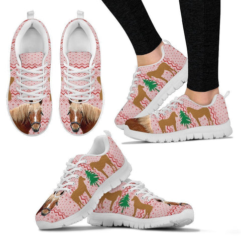 Curly Horse Print Christmas Running Shoes For Women-Free Shipping-Paww-Printz-Merchandise