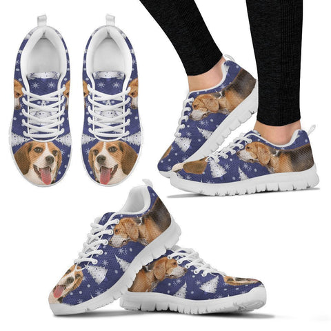 Beagle Dog Print Christmas Running Shoes For Women- Free Shipping-Paww-Printz-Merchandise