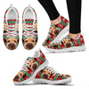 Border Terrier Christmas Running Shoes For Women- Free Shipping-Paww-Printz-Merchandise